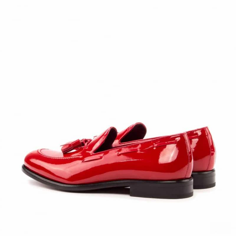 Custom Made Tassel Loafers in Red Patent Leather