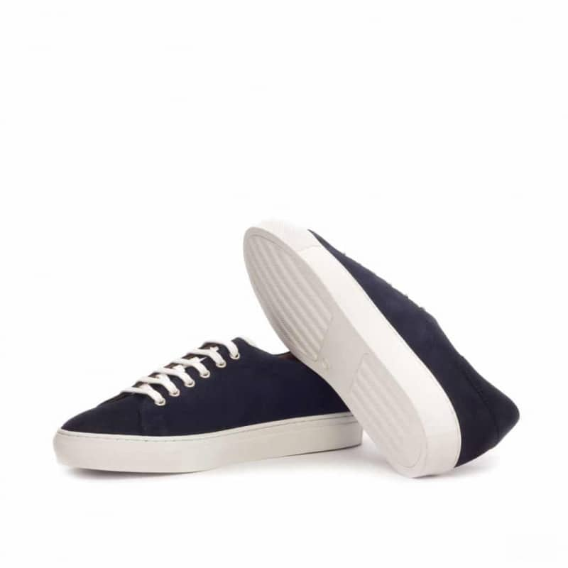 Custom Made Trainers in Navy Luxe Suede with White Box Calf