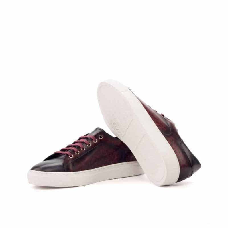 Custom Made Trainers in Raw Crust Italian Leather with a Burgundy and Grey Hand Patina Finish