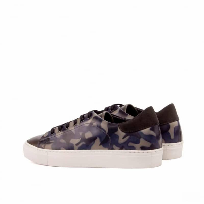 Custom Made Trainers in Raw Crust Italian Leather with a Denim Blue Camo Hand Patina and Grey Painted Calf and Luxe Suede