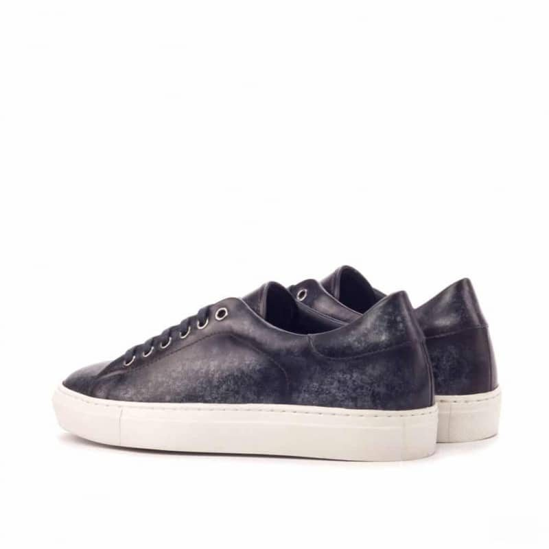 Custom Made Trainers in Raw Crust Italian Leather with a Grey Hand Patina Finish