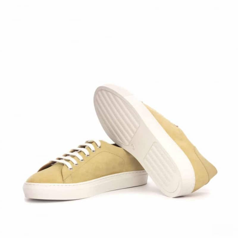 Custom Made Trainers in Sand Luxe Suede with White Box Calf