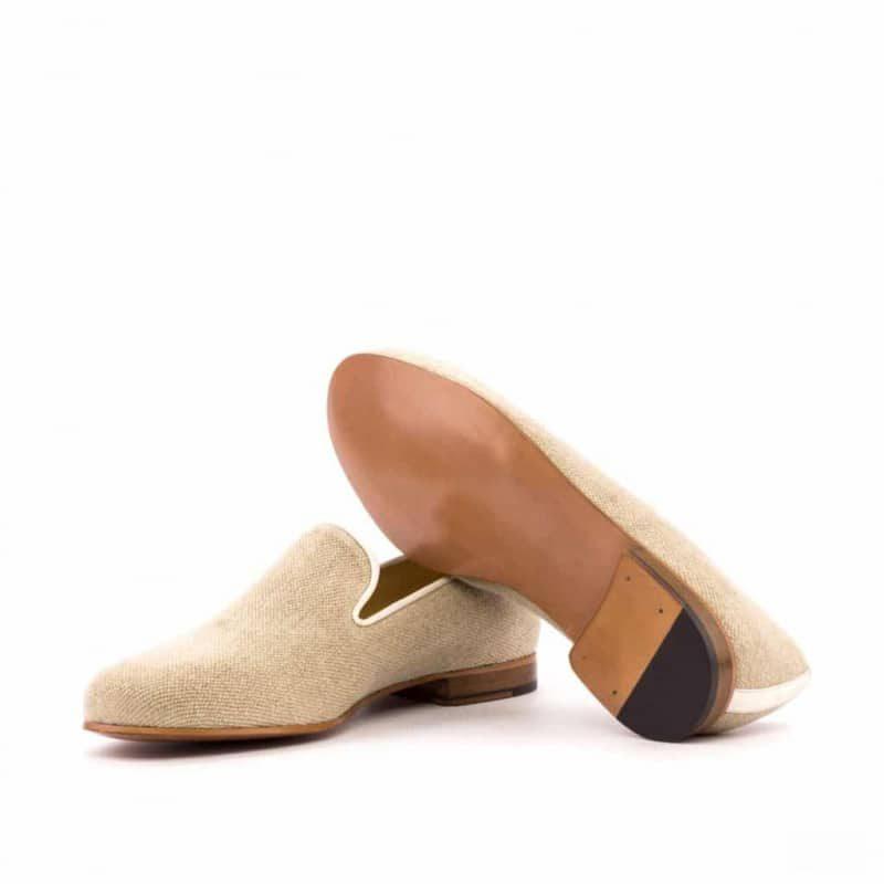 Custom Made Wellington Slippers in Ice Linen