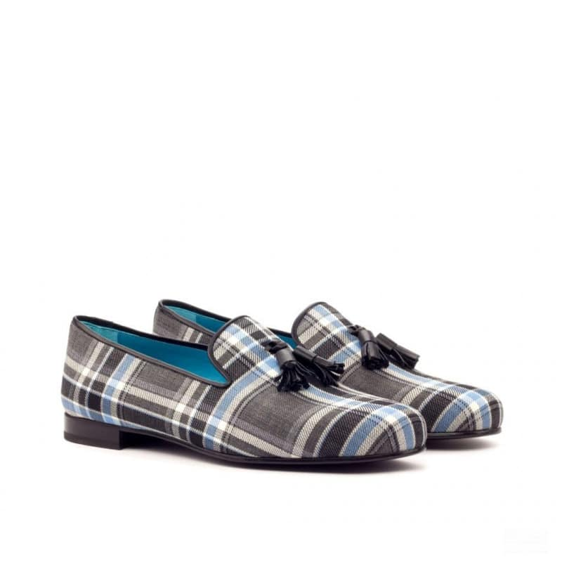 Custom Made Wellington Slippers in Plaid with Black Calf Leather
