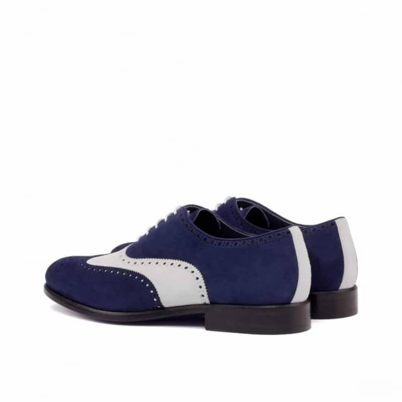 Custom Made Wingtips in Navy Blue and White Kid Suede