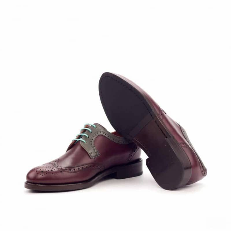 Custom Made Women's Derby Wingtip in Burgundy and Grey Painted Calf Leather