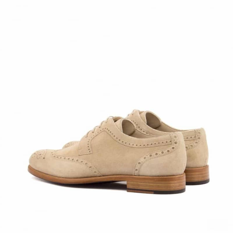 Custom Made Women's Derby Wingtip in Taupe Kid Suede