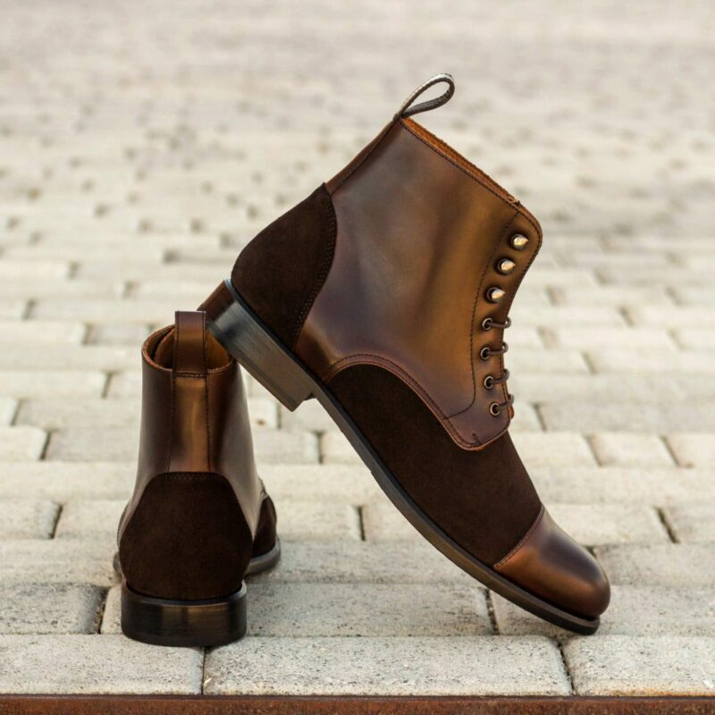 Custom Made Women's Lace Up Captoe Boot in Dark Brown Luxe Suede and Painted Calf Leather