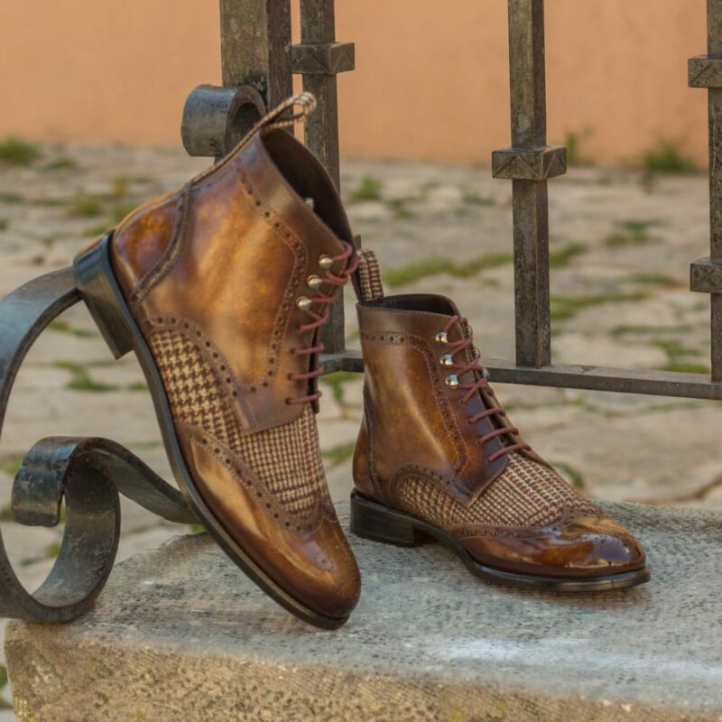 Custom Made Women's Military Brogue Boot in Italian Calf Leather with a Cognac Hand Patina and Tweed