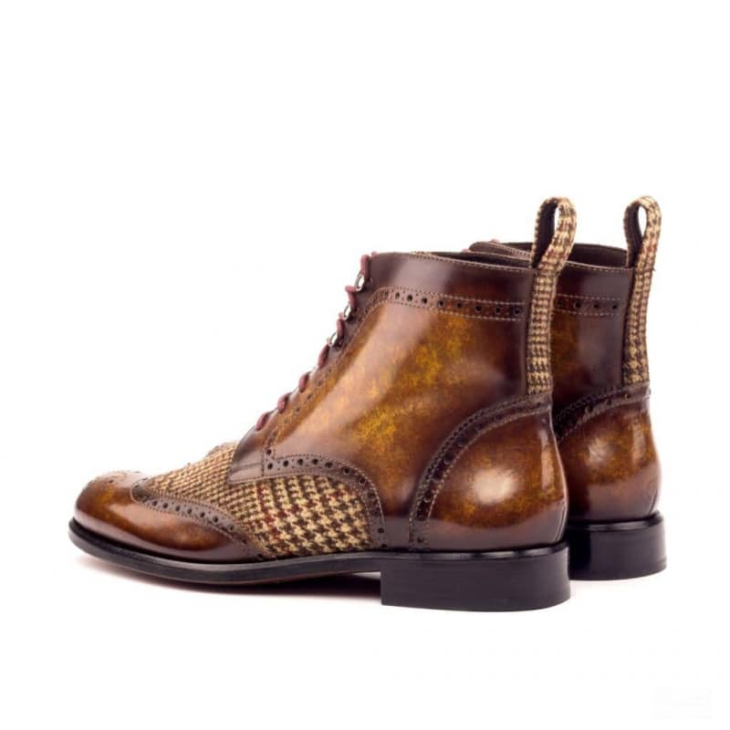 Custom Made Women's Military Brogue Boot in Italian Raw Crust Leather with a Cognac Hand Patina and Tweed