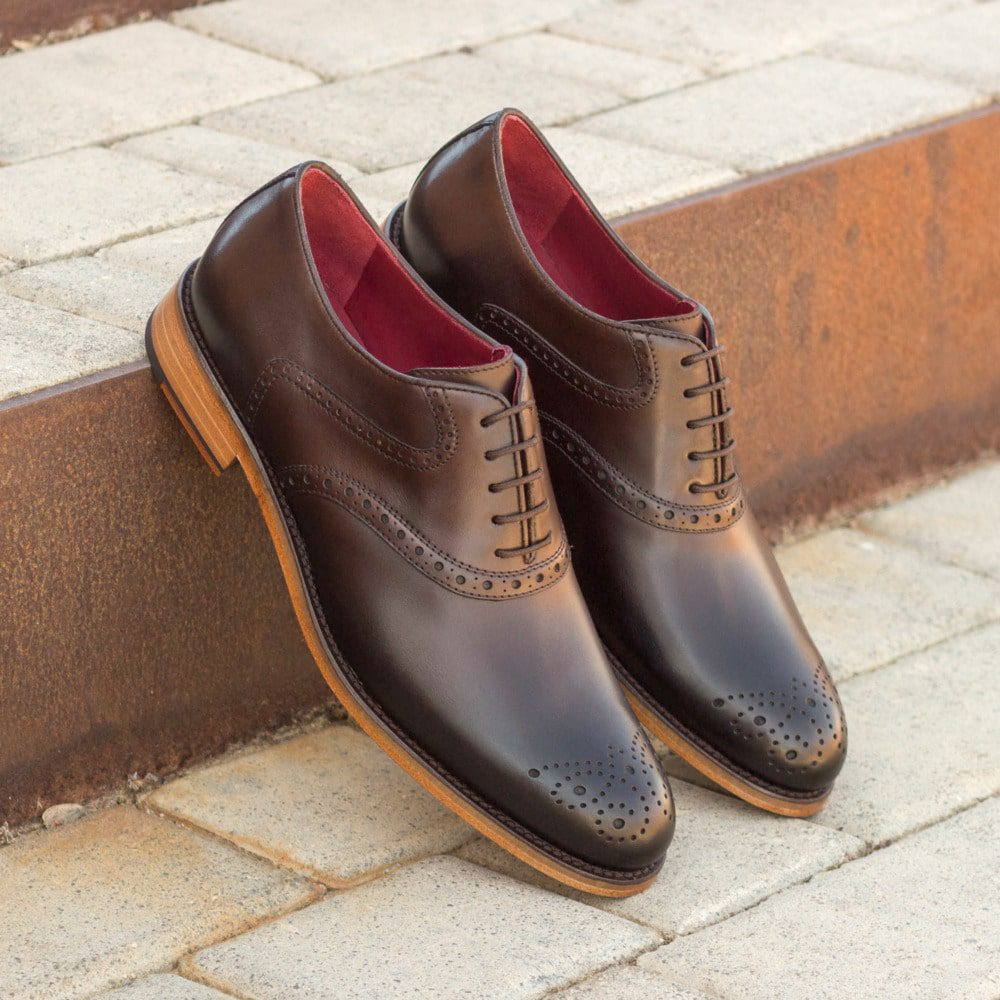 Custom Made Women's Saddle Shoes in Dark Brown Painted Calf Leather