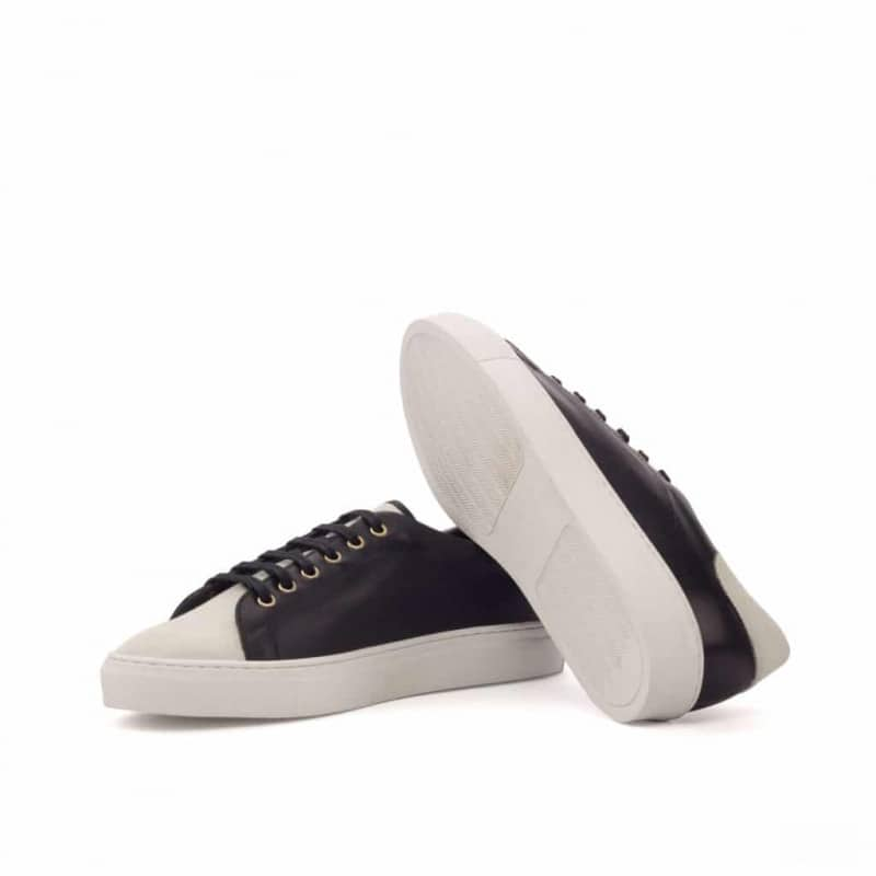 The Trainer in Black Painted Calf with White Kid Suede