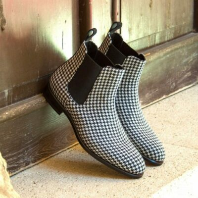 Custom Made Chelsea Boot Classic in Wool Houndstooth with Black Luxe Suede