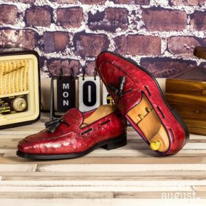 Custom Made Goodyear Welted Tassel Loafers in Red Genuine Ostrich with Black Painted Full Grain Leather and Navy Blue Box Calf