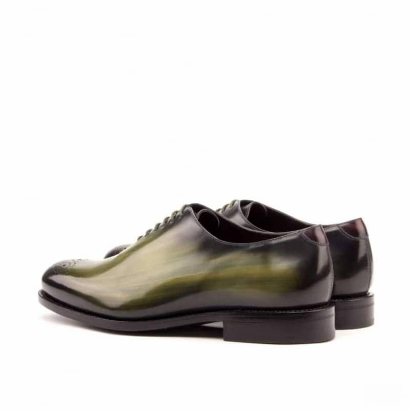 Custom Made Goodyear Welted Whole Cut Dress Shoes in Italian Raw Crust Leather with a Khaki and Burgundy Hand Patina Finish
