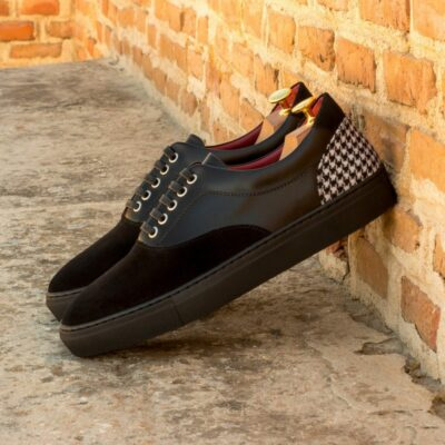 Custom Made Men's Cupsole Top Sider in Black Box Calf and Luxe Suede with Houndstooth