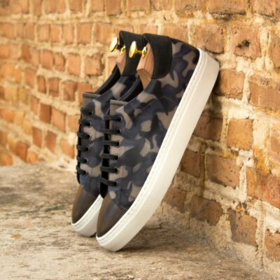 Custom Made Men's Cupsole Trainers in Italian Calf Leather with a Denim Blue Camo Hand Patina Finish and Grey Painted Calf