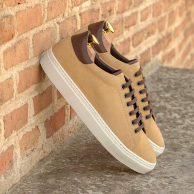 Custom Made Men's Cupsole Trainers in Sand Luxe Suede and Dark Brown Box Calf