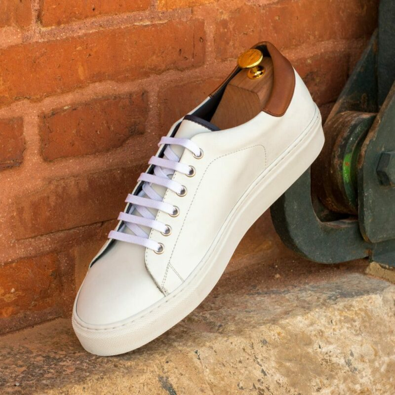 Custom Made Men's Cupsole Trainers in White Box Calf with Medium Brown Painted Calf and Navy Blue Polished Calf
