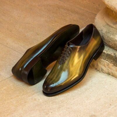 Custom Made Men's Goodyear Welt Wholecut Dress Shoes in Italian Calf Leather with a Khaki and Burgundy Hand Patina Finish