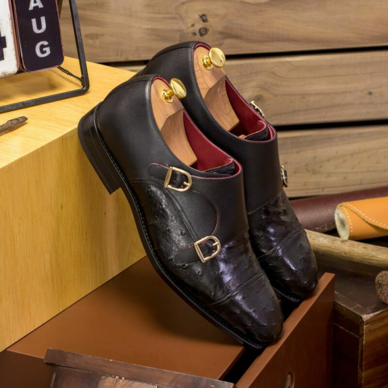 Custom Made Men's Goodyear Welted Double Monks in Black Genuine Ostrich with Black Painted Calf Leather
