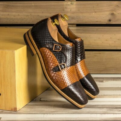 Custom Made Men's Goodyear Welted Double Monks in Cognac and Dark Brown Genuine Python