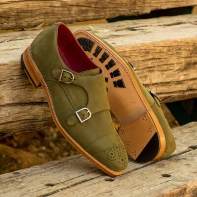 Custom Made Men's Goodyear Welted Double Monks in Khaki Kid Suede