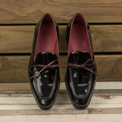 Custom Made Men's Goodyear Welted Loafers in Black Patent Leather with Burgundy Polished Calf