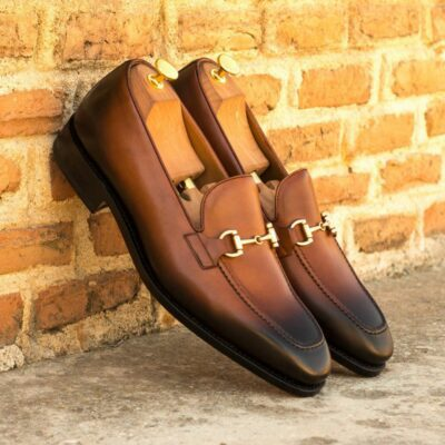 Custom Made Men's Goodyear Welted Loafers in Burnished Medium Brown Painted Calf