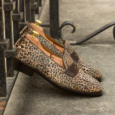 Custom Made Men's Goodyear Welted Loafers in Leopard Print and Dark Brown Calf