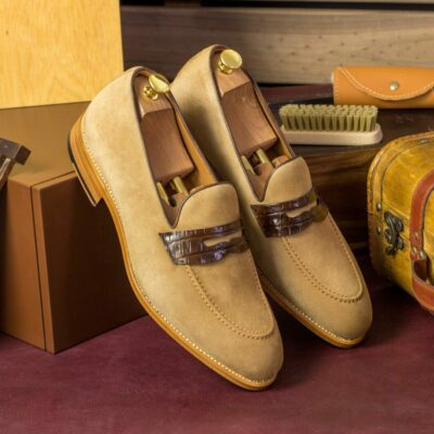Custom Made Men's Goodyear Welted Mask Loafers in Camel Kid Suede with Dark Brown Genuine Alligator