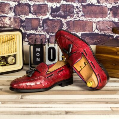 Custom Made Men's Goodyear Welted Tassel Loafers in Red Genuine Ostrich with Black Painted Full Grain Leather