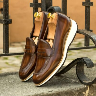 Custom Made Men's Loafers in Italian Calf Leather with Brown Hand Patina