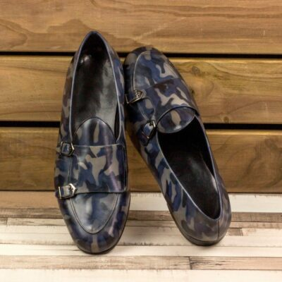 Custom Made Men's Monk Slippers in Italian Calf Leather with a Denim Blue Camo Hand Patina