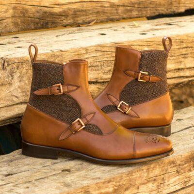 Custom Made Men's Octavian Boot in Medium Brown Box Calf with Herringbone