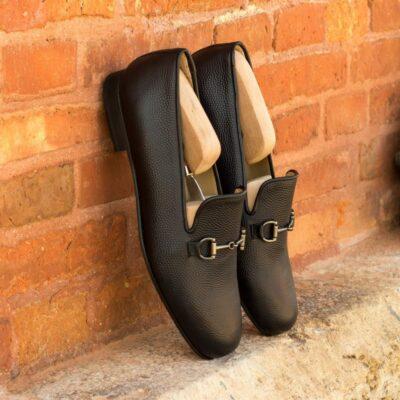 Custom Made Men's Wellington Slippers in Black Pebble Grain Leather