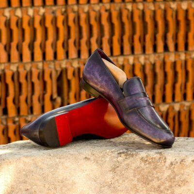 Custom Made Men's Wellington Slippers in Italian Calf Leather with a Purple Hand Patina