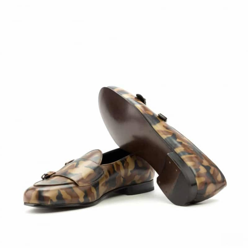Custom Made Monk Slippers in Italian Raw Crust Leather with a Brown Camo Hand Patina