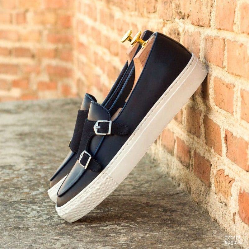 Custom Made Monk Sneakers in Navy Blue Box Calf with Navy Blue Luxe Suede