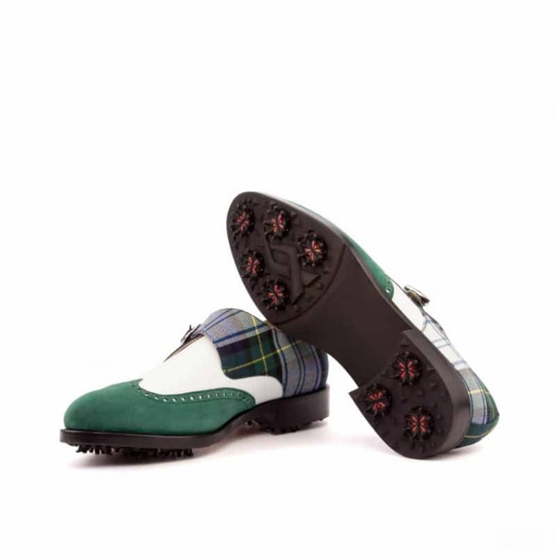Custom Made Single MonkGolf Shoe in White Box Calf, Forest Green Suede and Tartan