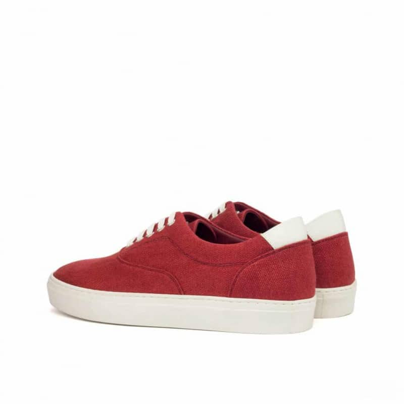 Custom Made Top Sider in Red Linen with White Box Calf