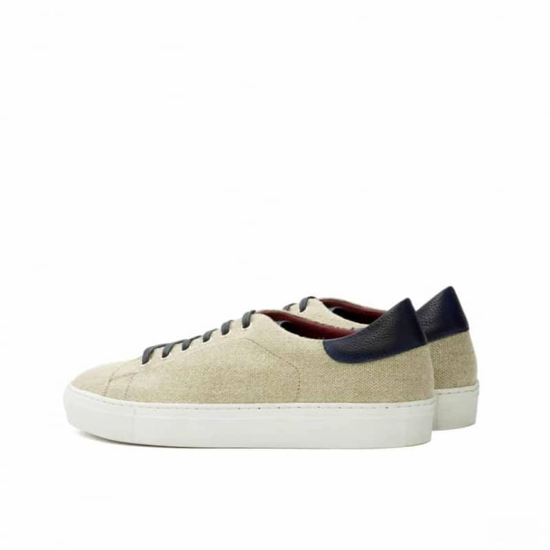 Custom Made Trainers in Ice Linen and Navy Blue Painted Full Grain Leather