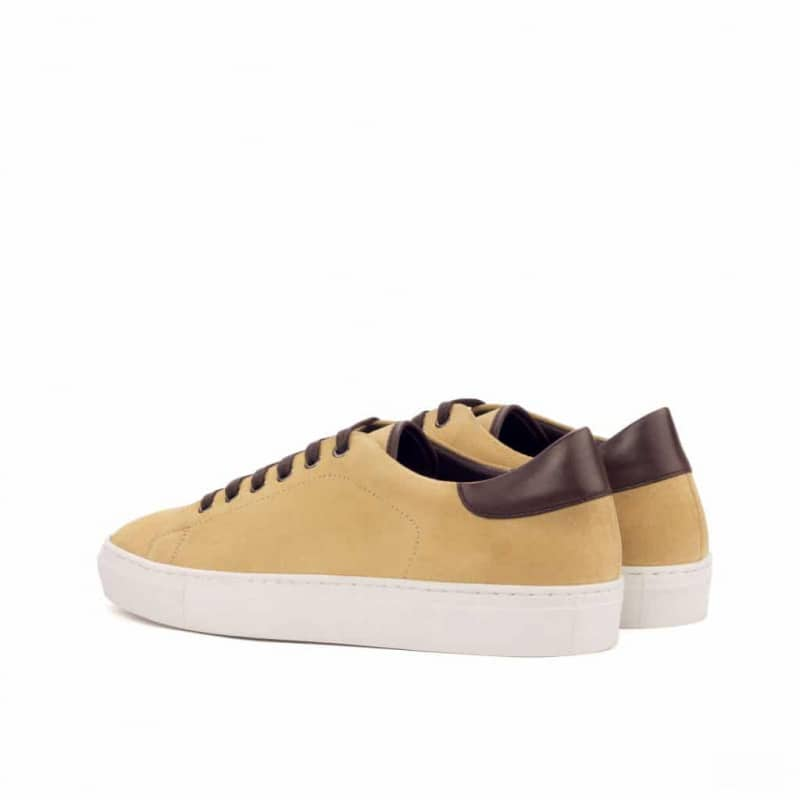 Custom Made Trainers in Sand Luxe Suede and Dark Brown Box Calf
