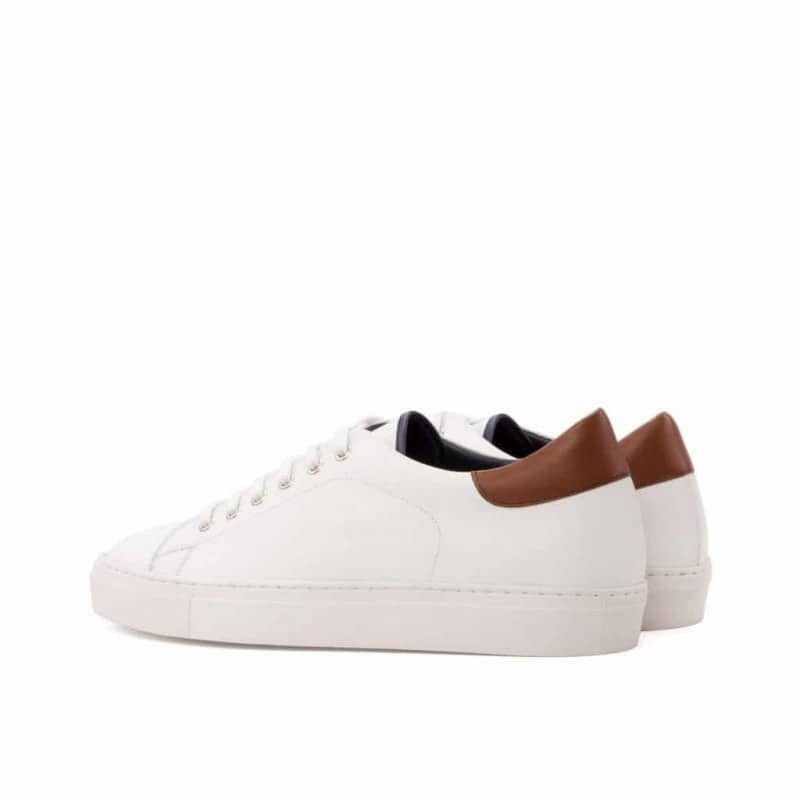 Custom Made Trainers in White Box Calf with Medium Brown Painted Calf and Navy Blue Polished Calf