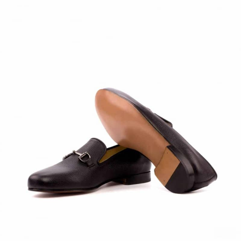 Custom Made Wellington Slippers in Black Pebble Grain Leather