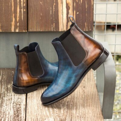 Custom Made Chelsea Boot Classic in Italian Raw Crust Leather with a Denim Blue and Brown Hand Patina