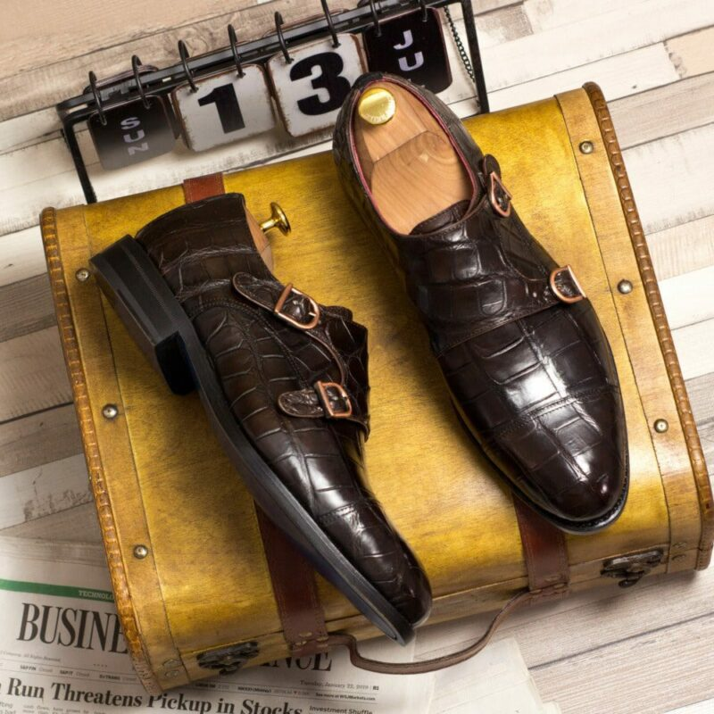 Custom Made Goodyear Welted Double Monks in Dark Brown Genuine Alligator with Black Luxe Suede