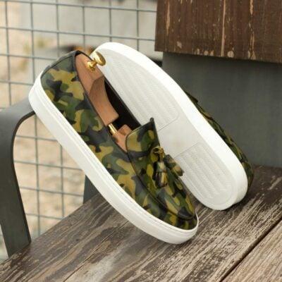 Custom Made Men's Belgian Sneaker in Italian Calf Leather with a Khaki Camo Hand Patina