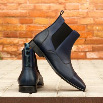 Custom Made Men's Chelsea Boot Multi in Navy Blue Painted Calf and Full Grain Leather with Blue Leopard Print