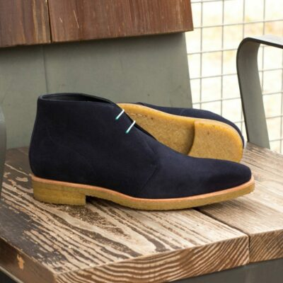Custom Made Men's Chukka Boot in Navy Blue Luxe Suede with Crepe Sole